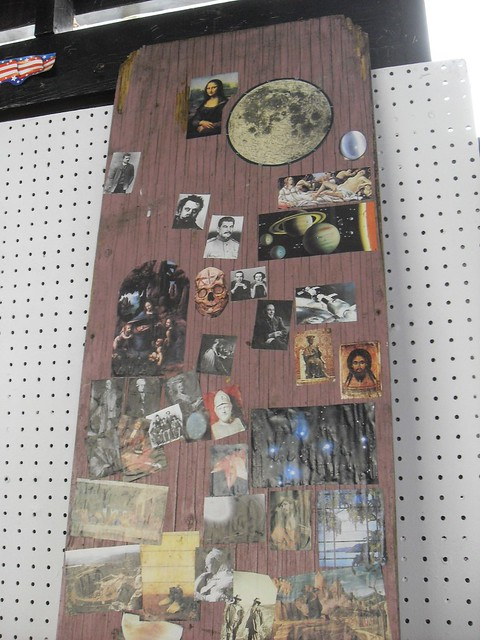 ZERN's Flea Market GILBERTSVILLE, PA.  Collage On Wood In Outbuilding In Rear