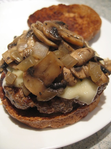 Cheeseburger with Swiss and sauteed mushrooms and onions