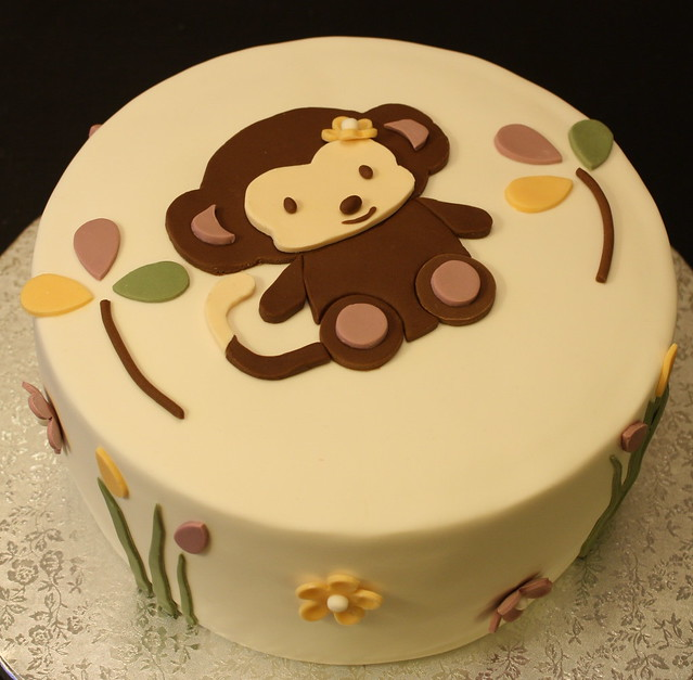 Monkey baby shower cake flickr photo sharing - Baby shower cakes monkey theme ...