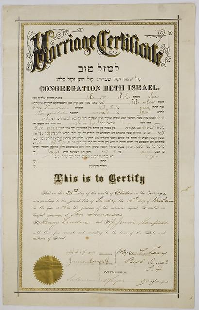 marriage certificate san francisco california