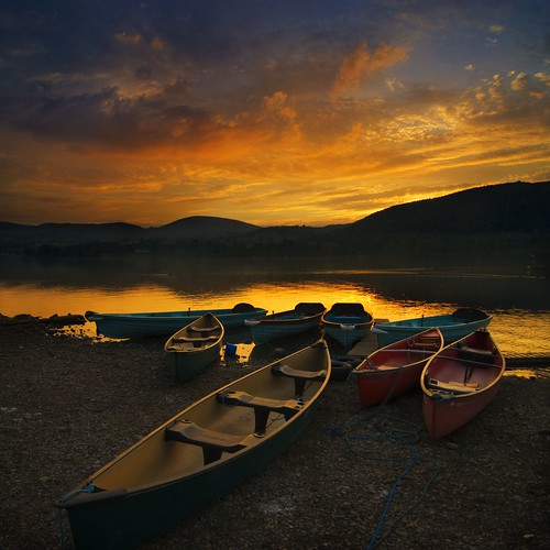 sunset mountains water reflections boats lakedistrict hills shore cumbria ullswater pooleybridge
