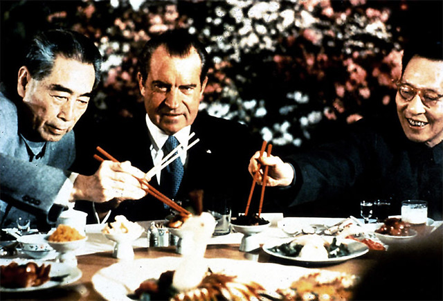 President Nixon dining in China by Dirck Halstead