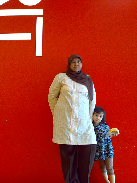 My family in red background