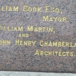 Birmingham School of Art - Memorial Stone - zoom in of William Martin and John Henry Chamberlain