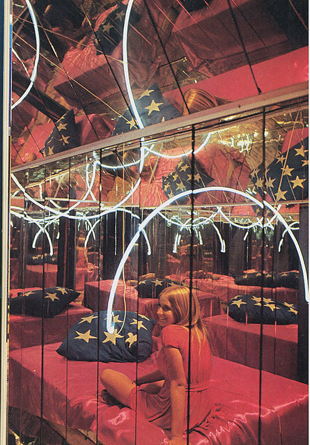 patriotic neon lights mirror room
