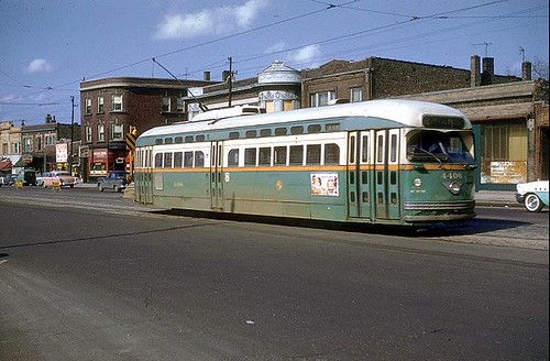 Chicago Transit Authority PCC electric streetcar heading southbound on North Clark Street. Chicago Illinois USA. 1957. by Eddie from Chicago