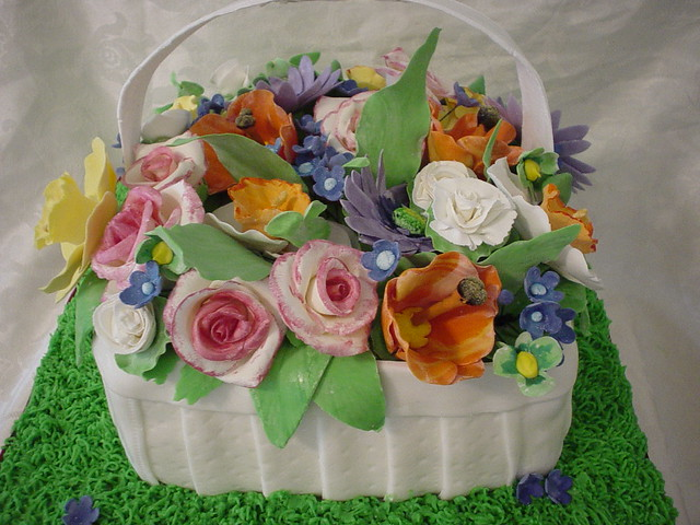 How To Make A Basket Of Flowers Cake : Spring flower basket cake flickr photo sharing