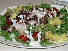 meal, salad, vegetable, meat, food, dish, cuisine, caesar salad,