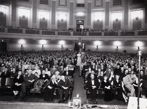 Audience at the Royal Geographical Society lecture at City Hall, Brisbane, November 1946