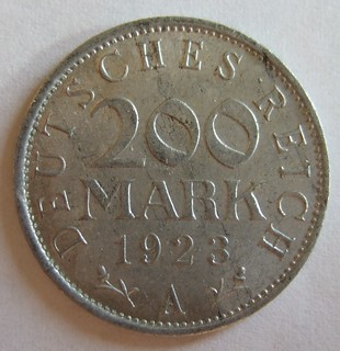 GERMANY, 1923 ---200 MARKS, RAPID INFLATION PERIOD a