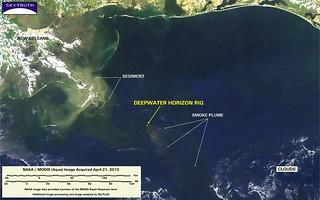 Deepwater Horizon Fire – MODIS/Aqua Detail (with interpretation), April 21, 2010