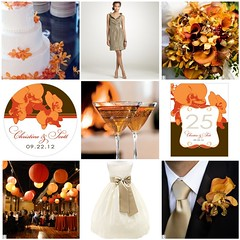 orange and taupe beach wedding theme