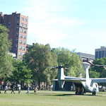 Marine Week Boston, 2010: Bell-Boeing MV-22B Osprey tilt-rotor aircraft  accepting VIP passengers (note the business suits) before taking off from Boston Common