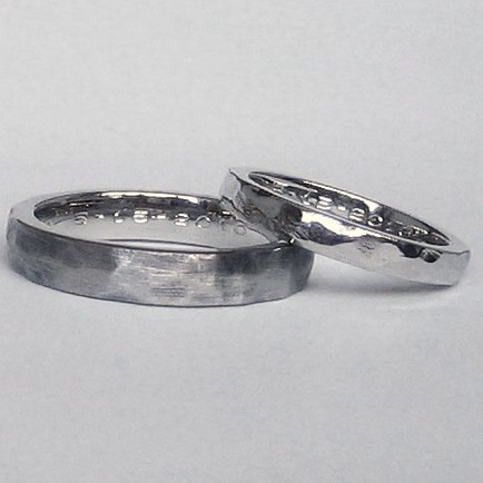 Matching recycled palladium wedding bands that look hammered