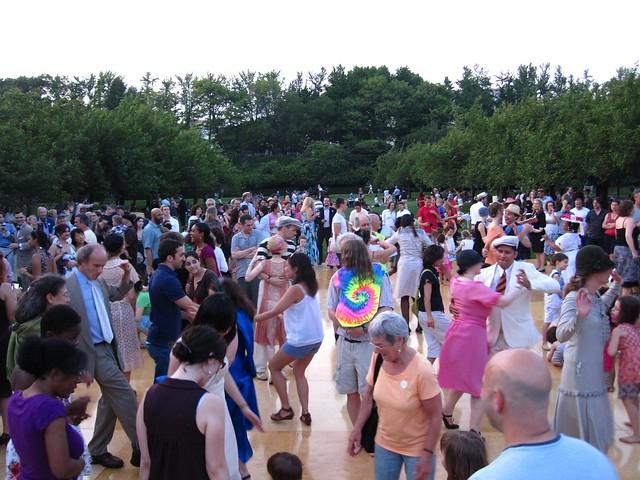 A  dance floor full of BBG members dancing to Jazz Age music in celebration of BBG's centennial. Photo by Rebecca Bullene.