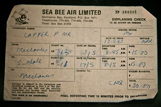 Sea Bee Air Mechanics Bay to Surfdale ticket, Auckland, 1983