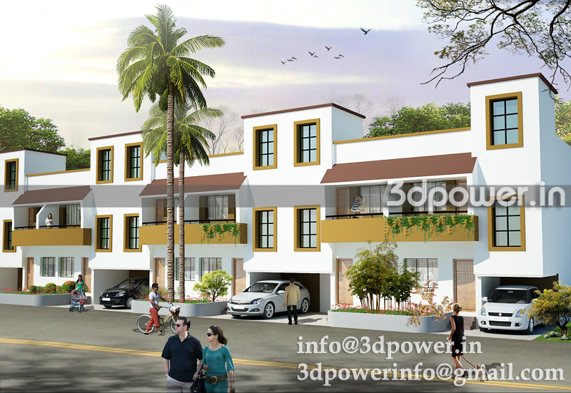 3d modeling_3d rendering_row houses_india_www.3dpower.in_row bungalow