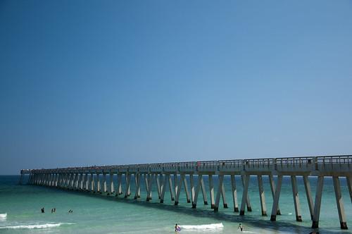 sky beach coast pier nikon florida sunny bluesky clear navarre navarrebeach d90 18105mm