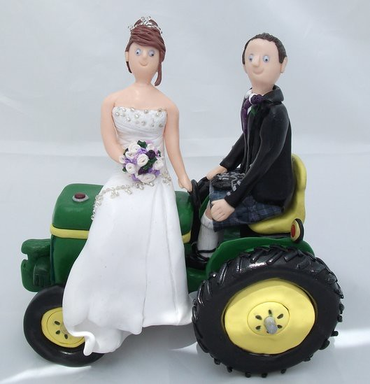 Wedding Cake Toppers On Tractor