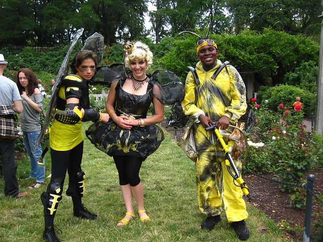 A drone, queen, and worker bee buzz around Cranford Rose Garden. Photo by Rebecca Bullene.