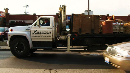 Southbound Ford utility flat bed truck on Harlem Avenue. Niles Illinois. November 2010. by Eddie from Chicago