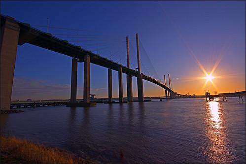 sunset thames river riverthames hdr thurrock dartfordcrossing qe2bridge dartfordbridge