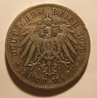 GERMANY, KAISER WILHELM II, 1900 ---5 MARKS a