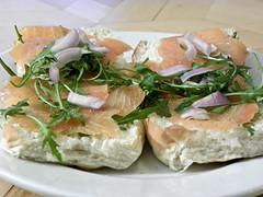 meal, breakfast, vegetable, food, dish, cuisine, smoked salmon, caesar salad,