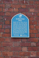 Photo of Slingfield Mill and Thomas Lea blue plaque