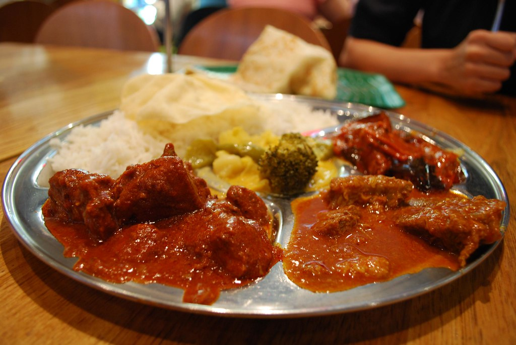 Mutton Curry, Beef Rendang, Eggplant Masala, Vegetable Curry with rice ...