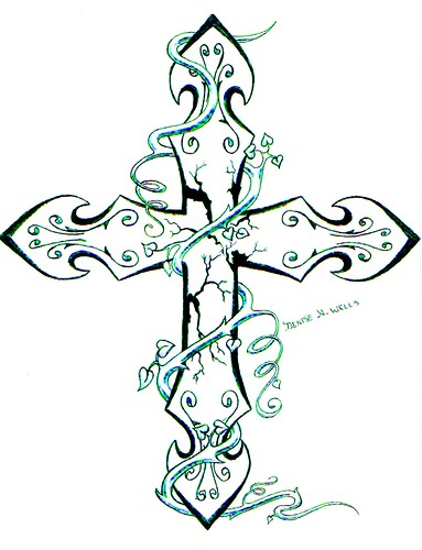 Tattoo design girly cross tattoos for Girly cross tattoo
