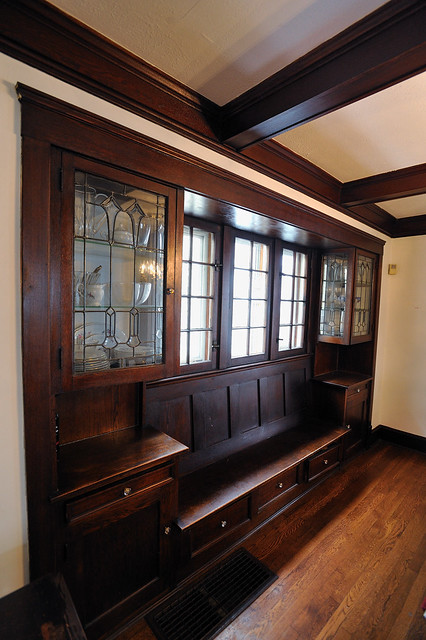 dining room built in cabinets and beamed ceiling flickr photo