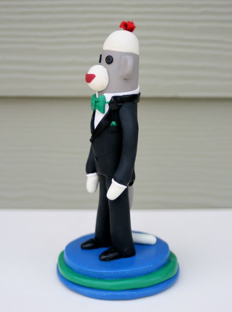 Side View Groom in a Tux Sock Monkey Wedding Cake Topper