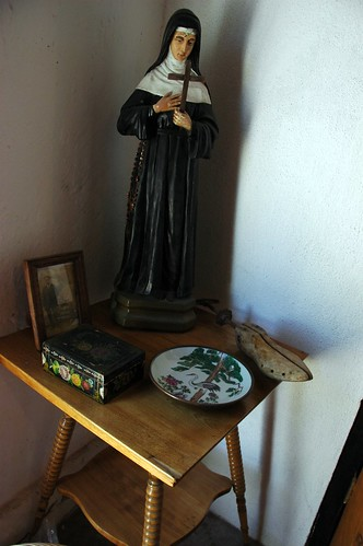 Statue of a Roman Catholic nun, from the collection of Beto Romano, a Catholic man with a long family history dating back to Spain, Serena Hotel, San Bruno, Baja California Sur, Mexico by Wonderlane