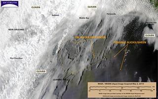 Deepwater Horizon Oil Spill – MODIS/Aqua Detail (with interpretation), May 2, 2010