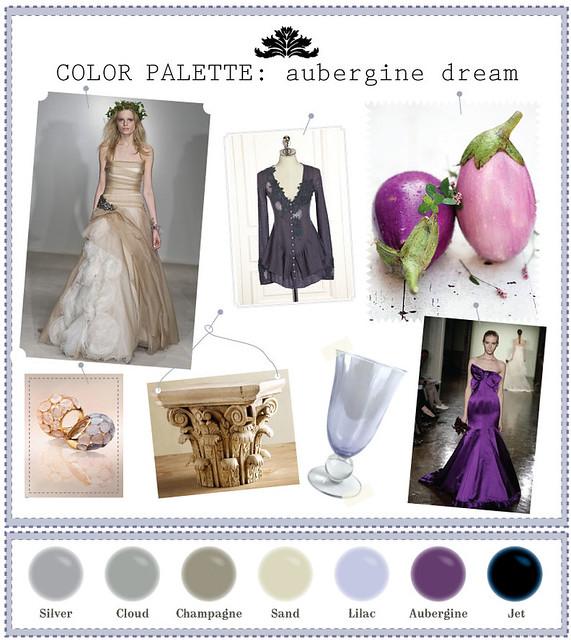 Eggplant Color Schemes: Aubergine-champagne-wedding-color-palette