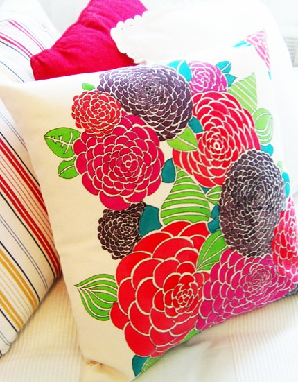 How To Make Throw Pillow Covers By Hand : hand painted throw pillow cover Beautiful throw pillow cas? Flickr - Photo Sharing!