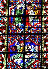 Détail du vitrail de St-Georges (XIIIe S.) - Cathédrale de Coutances - Manche - Basse Normandie