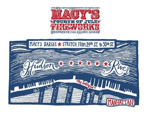 Macys Fireworks New York barges map 2010