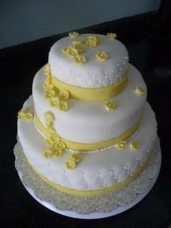 80th Birthday Cake with yellow flowers