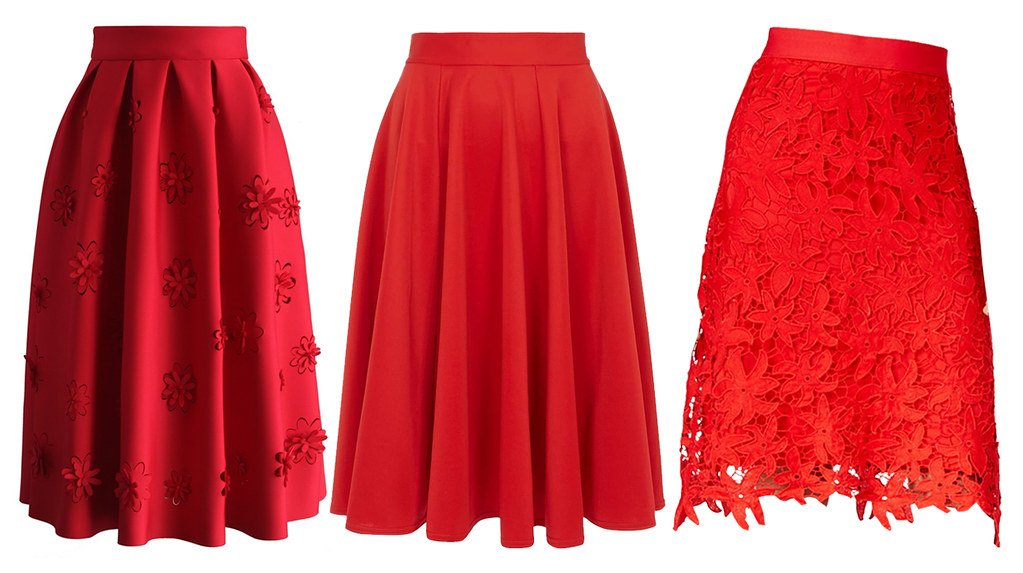 red midi skirt options