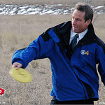 News 4's Tom Mustin gives the disc a toss at the 2005 Ice Bowl, West Arvada Course.