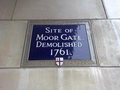 Photo of Moor Gate blue plaque