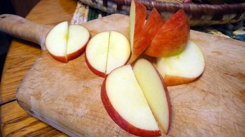 A sliced apple.