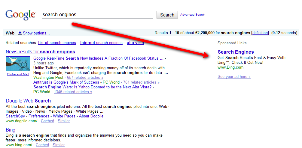 SEM Advertising in search results