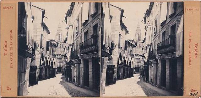 Calle Ancha hacia 1860. Fotografía estereoscópica de E. Làmy