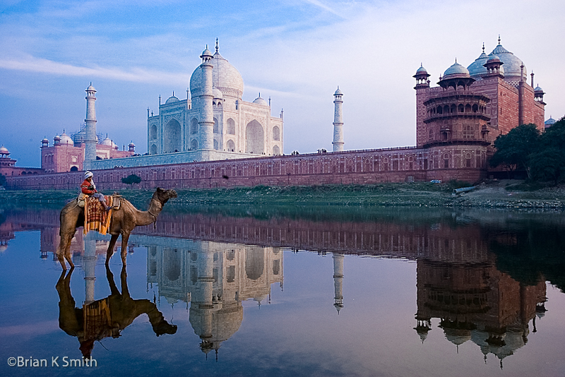 Reflection of Taj Mahal and camel in the Yamuna River at sunset.