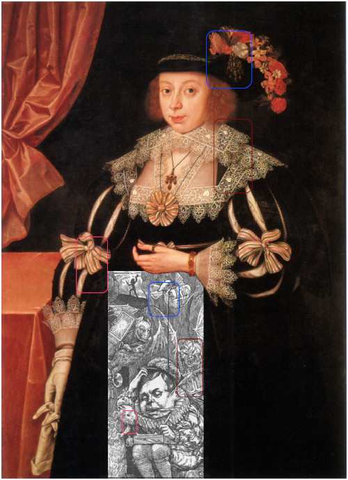 The Butcher (1876) by Henry Holiday, Anne Hale Mrs. Hoskins by Marcus Gheeraerts the Younger (1629)