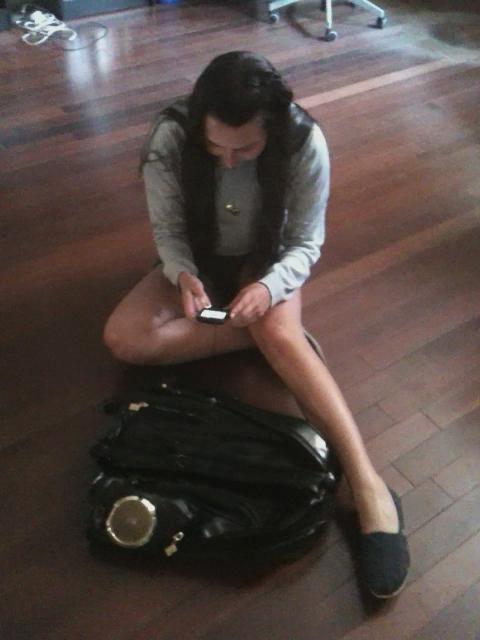 Lauren with Biz Markie's Backpack