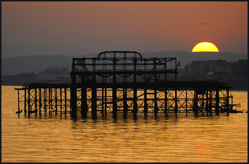 UK - Brighton - West Pier Setting Sun